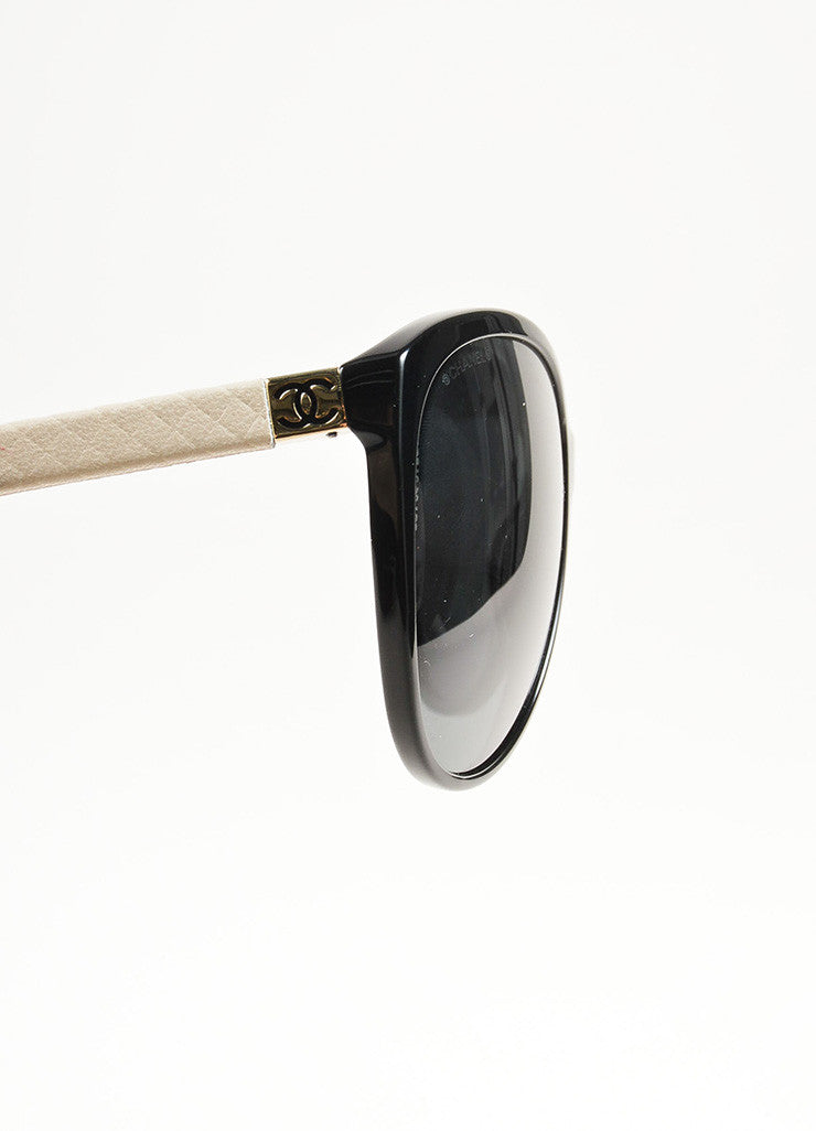 Chanel Black and Cream Leather Trim 'CC' Logo Butterfly Frame Sunglasses Detail