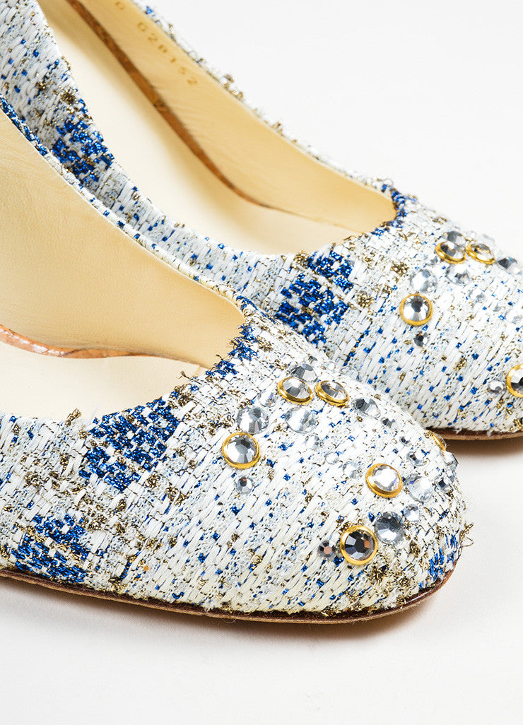 Blue and White Chanel Tweed Cork Swarovski Crystal 'CC' Slingback Pumps Detail