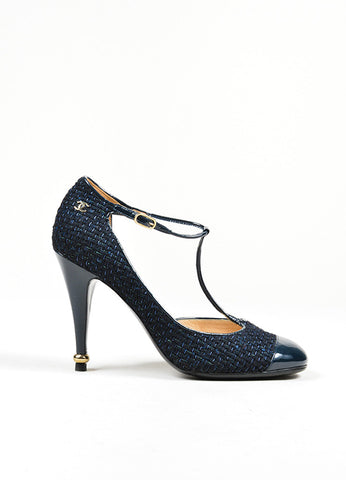 Black and Blue Chanel Woven Tweed Patent Leather Cap Toe T-Strap Pumps Sideview