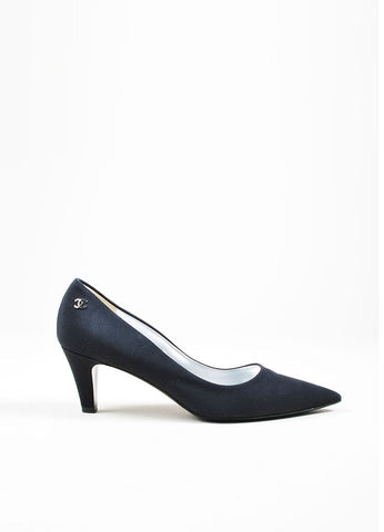 Black Chanel Classic Pointed Toe 'CC' Logo Mid Heel Pumps Sideview