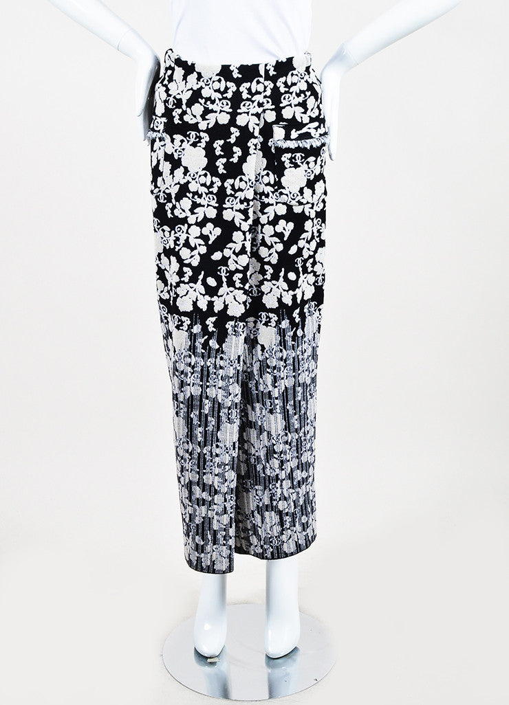 Chanel Black and Cream Cotton Blend Knit Floral Pattern Fitted Maxi Skirt Frontview