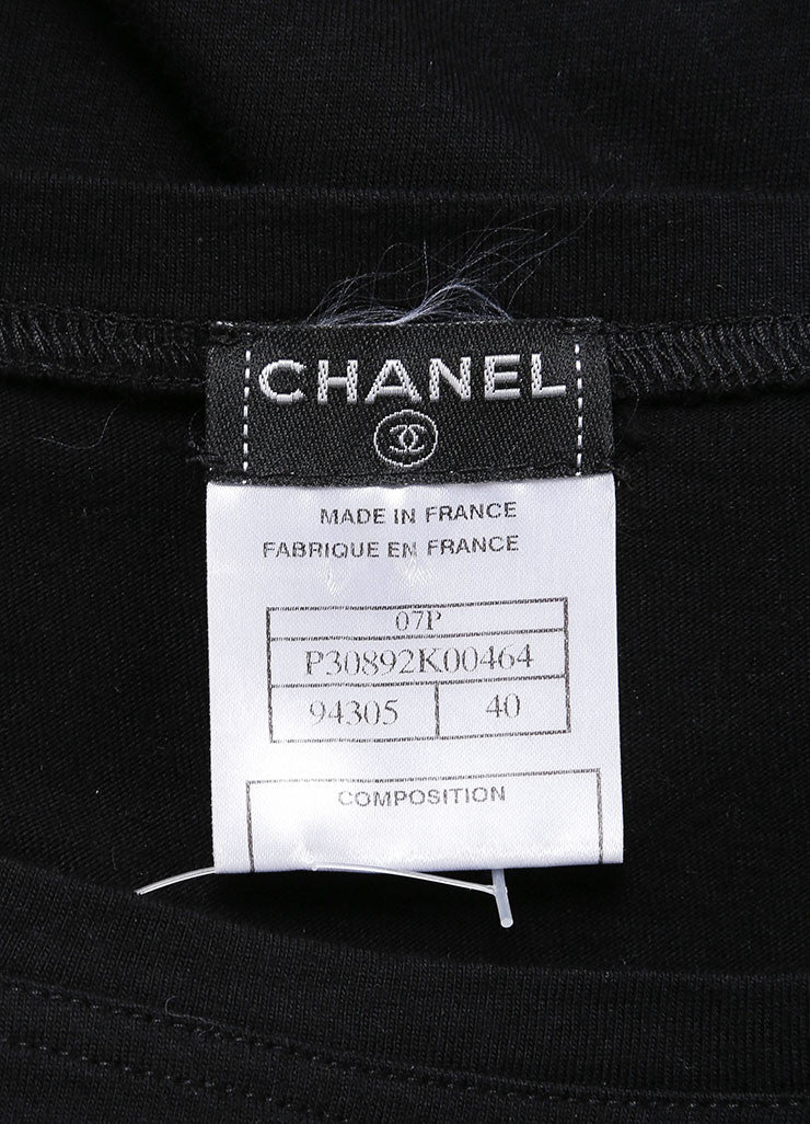 Chanel Black Front Cut Out Medallion Top Brand