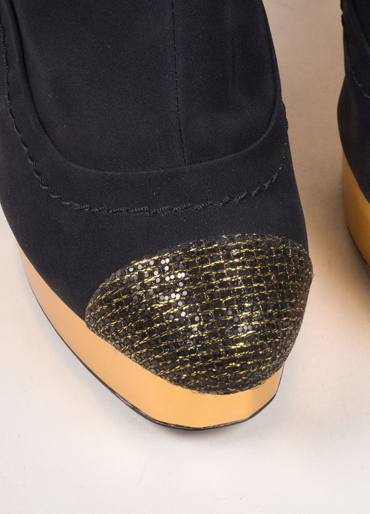 Chanel Black and Gold Toned Woven Metallic Glitter Cap Toe Platform Booties Detail