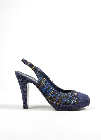 Blue, Brown, and Gold Chanel Tweed Glitter Cap Toe 'CC' Slingback Pumps Sideview