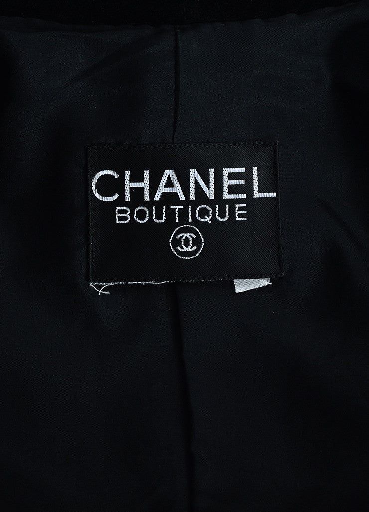 "Chanel Black Velvet Gold Toned Metal ""Coco Chanel"" Buttons Jacket brand"