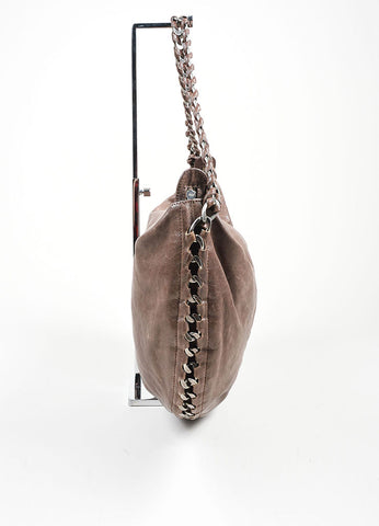 "Grey Taupe  Leather Chanel 'CC' Silver ""Modern Chain Hobo"" Bag Sideview"