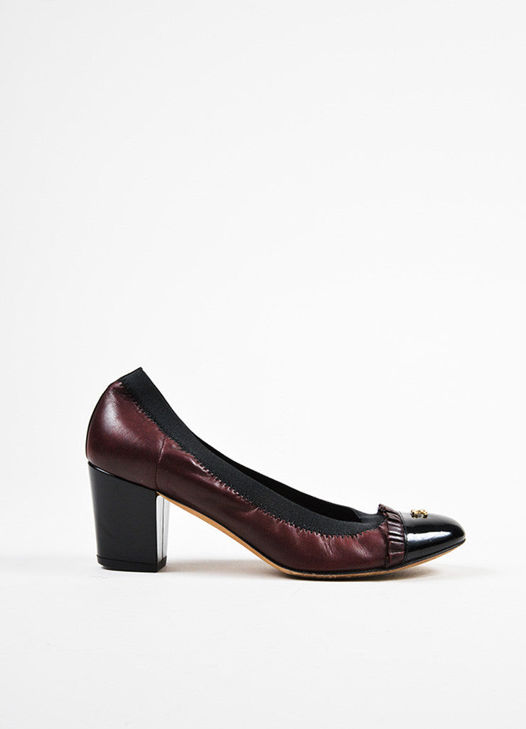 Chanel Maroon Black Leather Patent Trim Ruffle Almond Cap Toe Pumps Sideview
