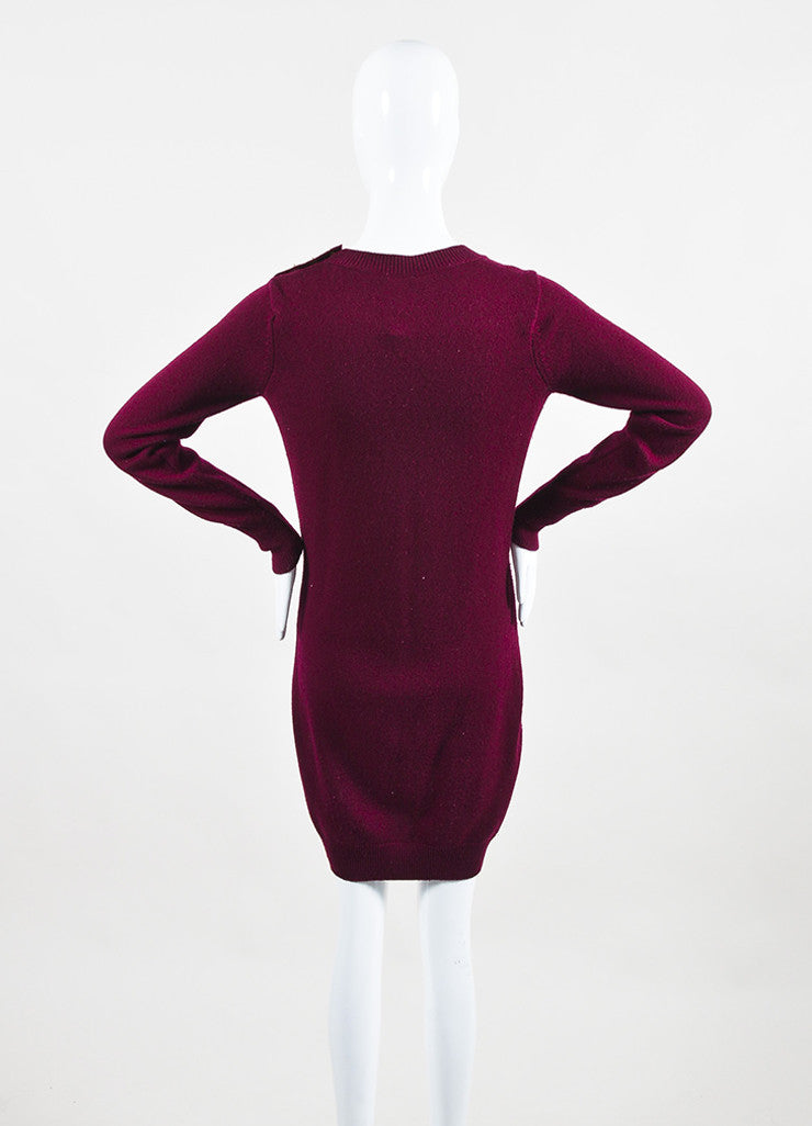 Chanel Maroon and Gold Toned Cashmere 'CC' Turnlock Detail Long Sleeve Sweater Dress backview