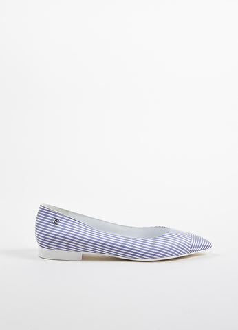 Chanel Blue and White Striped Leather Pointed Toe 'CC' Low Heel Flats Sideview