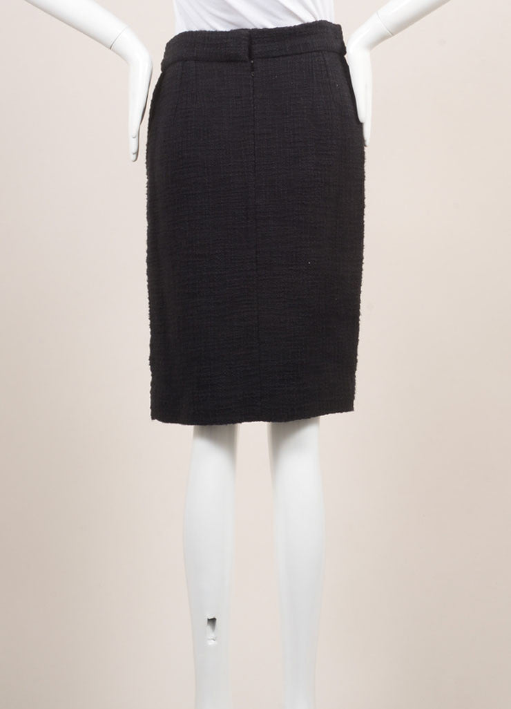 Chanel New With Tags Black Cotton Tweed Draped Pencil Skirt Backview