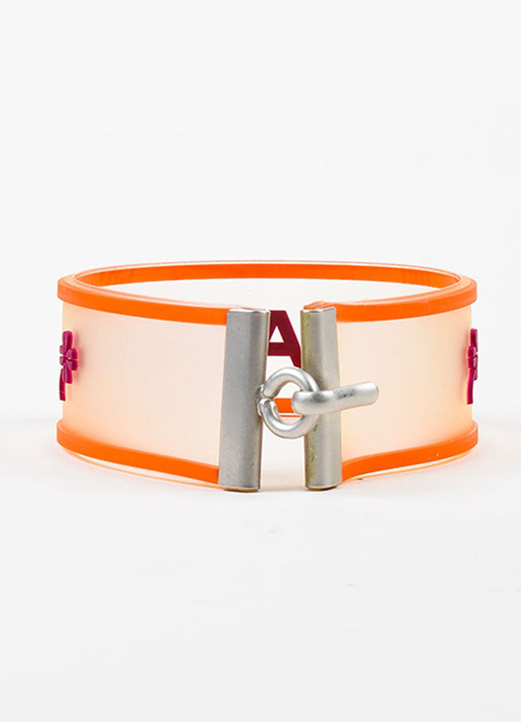 Silver Tone, Orange, and Purple Chanel Rubber Transparent Strap Bracelet Backview