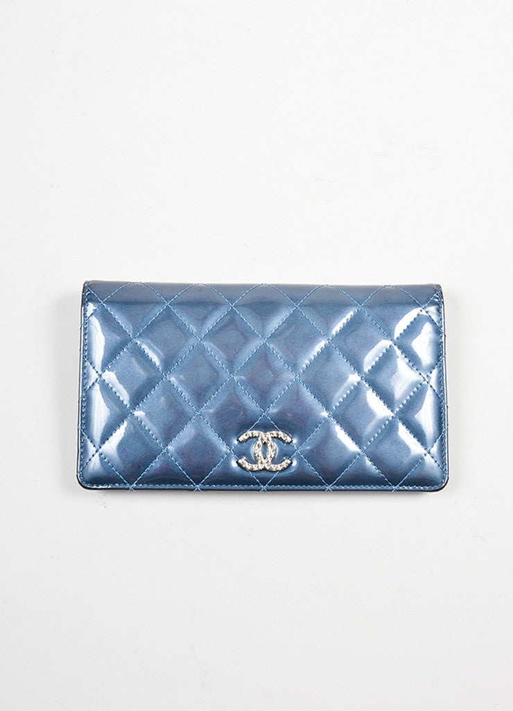 Steel Blue Shimmer Patent Leather Quilted Chanel 'CC' Bifold Wallet Frontview