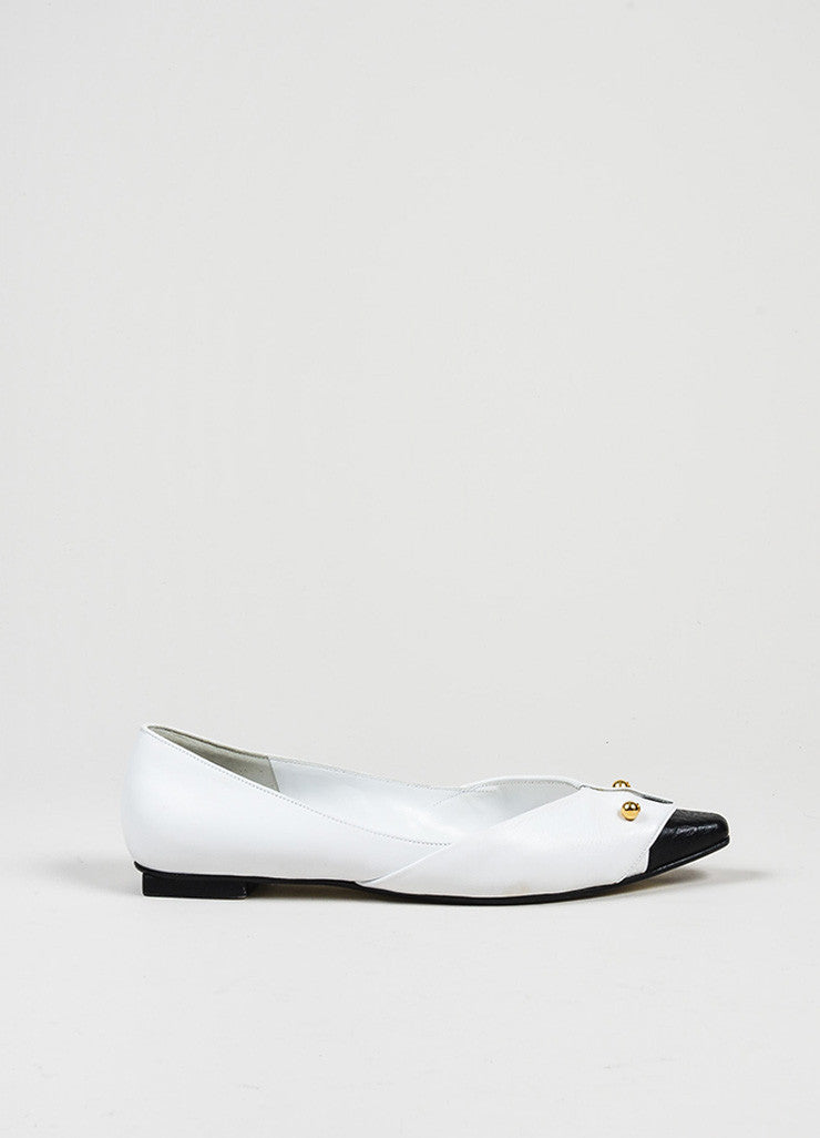 White, Black, and Gold Toned Chanel Tuxedo Collar Barbell Flats Sideview