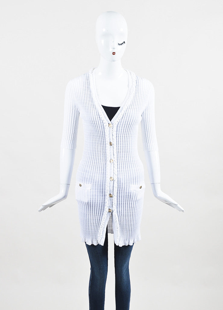 Chanel White Stretch Ribbed Knit Longline Short Sleeve Cardigan frontview 2