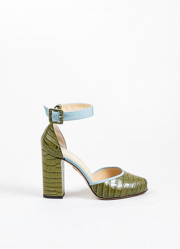 "Green and Blue Charlotte Olympia Leather Peep Toe ""Renee"" Heels Sideview"