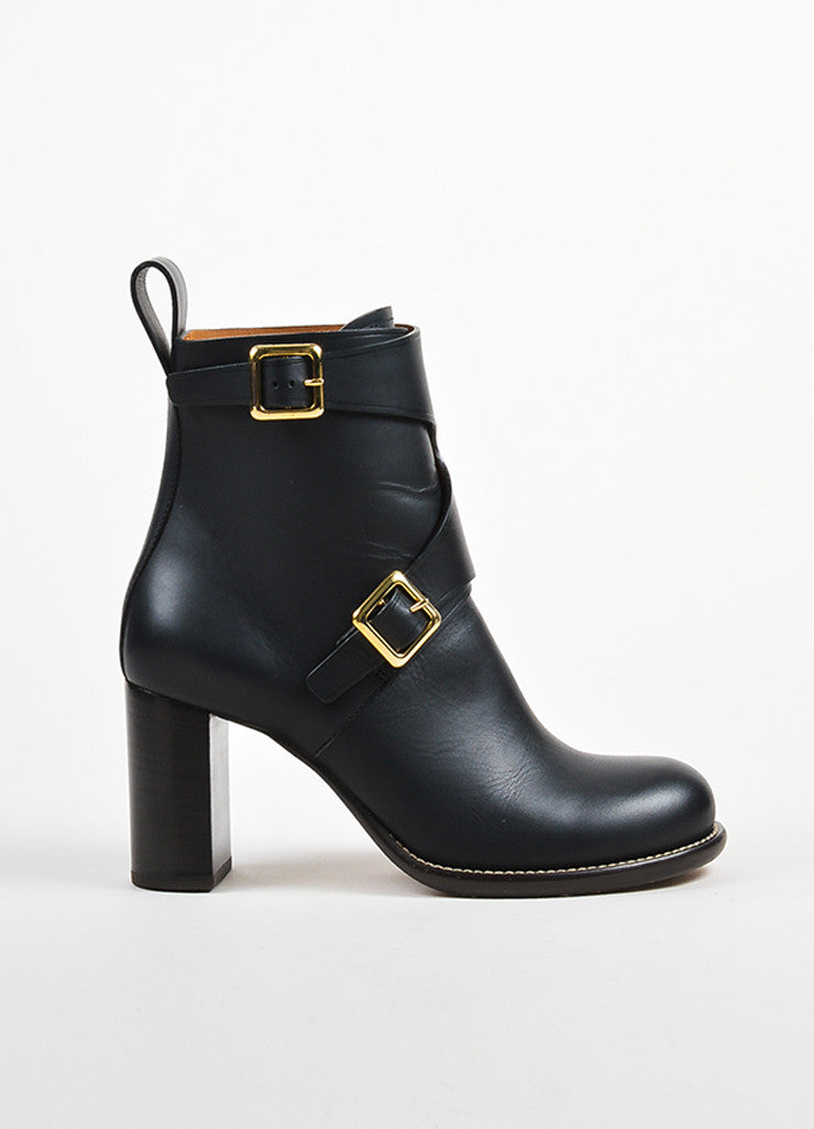 Black Leather Chloe Gold Toned Buckle Heeled Ankle Boots Sideview