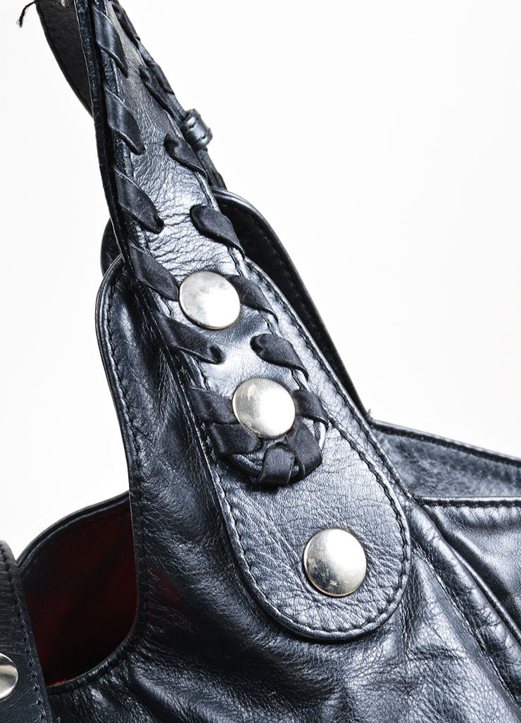 "Black Leather Chloe ""Silverado"" Whipstitch Studded Tote Bag Detail 2"