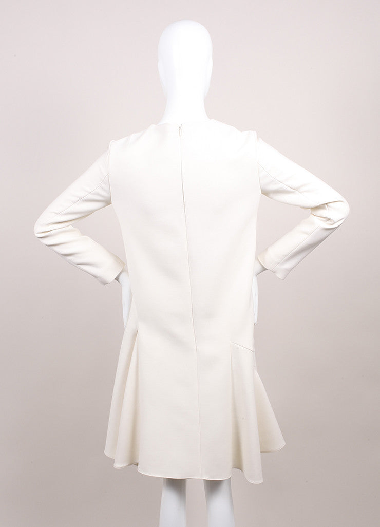 Christian Dior New With Tags Cream Crop Waist Stretch Wool Long Sleeve Flounce Dress Backview