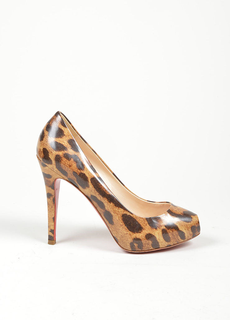 "Brown Christian Louboutin Patent Leather Leopard Print ""Clic 120"" Peep Toe Pumps Sideview"