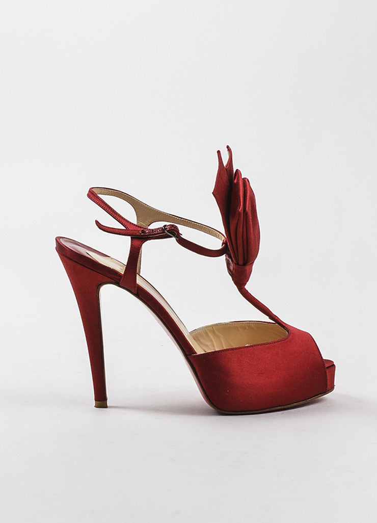 "Christian Louboutin Red Satin Peep Toe ""Ernesta Bow"" T-Strap Pumps Sideview"