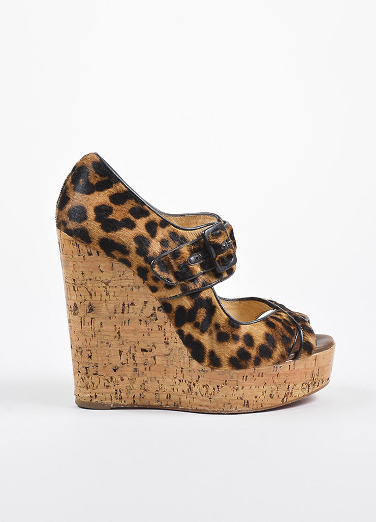 Ì_Ì_å¢Ì_?ÁÌ_Ì_Christian Louboutin Black and Brown Leopard Pony Hair Cork Sandal Wedges Sideview