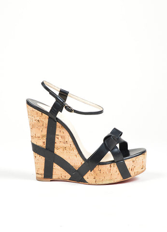 "Black Christian Louboutin Leather ""Miss Cristo 140"" Cork Wedge Sandals Sideview"
