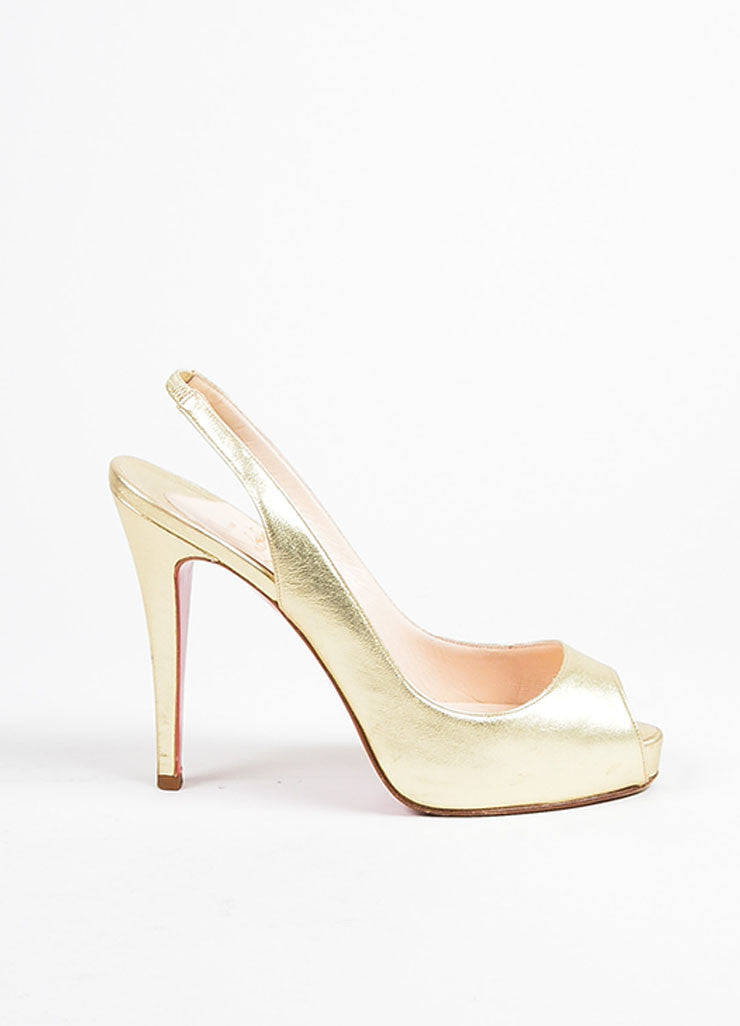 "Christian Louboutin Gold Leather Slingback Peep Toe ""No Prive"" Pumps Sideview"
