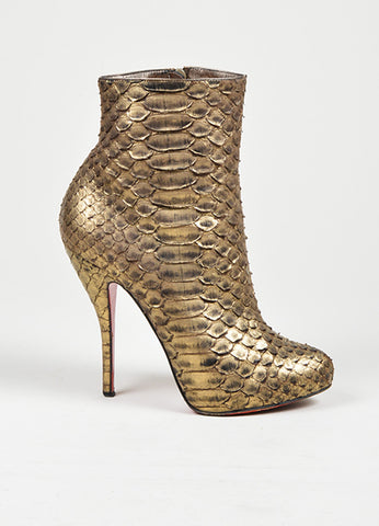 "Gold Christian Louboutin Python Leather ""Feticha Booty 120"" Ankle Boots Sideview"