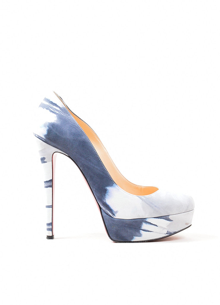 "Grey and White Suede Christian Louboutin ""Bianca 140 Woodstock"" Platform Pumps Sideview"