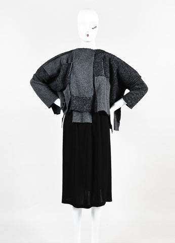 Comme Des Garcons Grey and Black Wool Knit Patchwork Pleated Skirt Dress Frontview