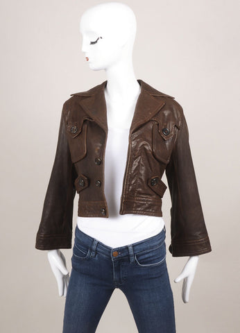 DSquared2 Brown Distressed Leather Cropped Moto Jacket Frontview