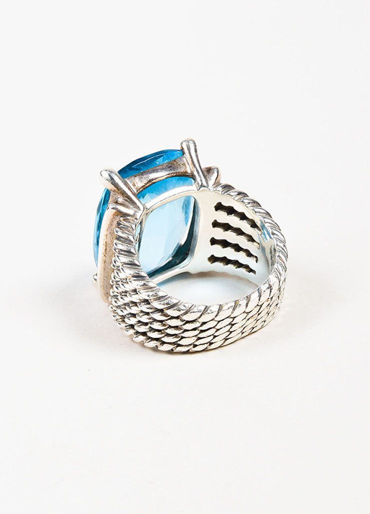 "Sterling Silver, Blue Topaz, and Pave Diamond David Yurman ""Wheaton"" Ring  Backview"