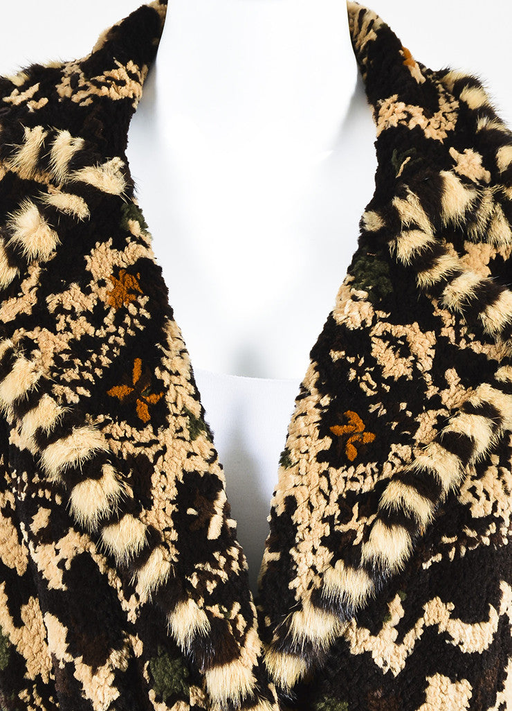 Dennis Basso Brown Multicolor Patterned Belted Fur Coat with Scarf Detail