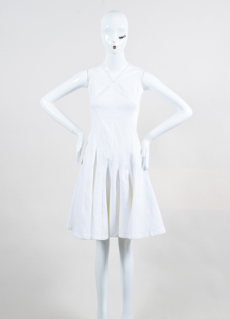 Derek Lam White Stretch Cotton Denim Sleeveless V-Neck Paneled and Flared Dress Frontview