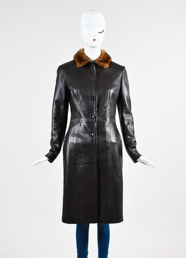 Dolce & Gabbana Brown Leather Fur Collar Long Jacket Frontview 2
