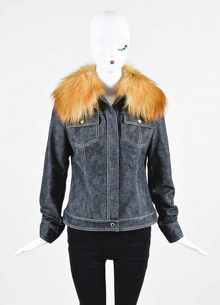 Dolce & Gabbana Dark Blue Denim Fox Fur Removable Collar Snap Front Jacket Frontview 2