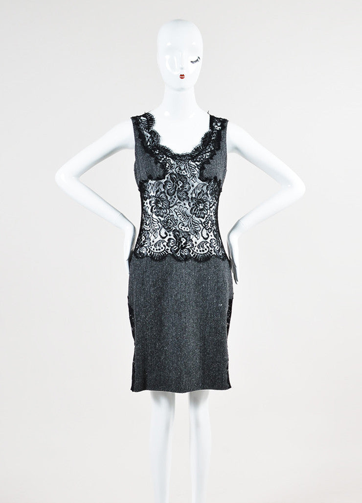 Grey and Black Dolce & Gabbana Wool Sheer Lace Herringbone Sleeveless Dress Frontview