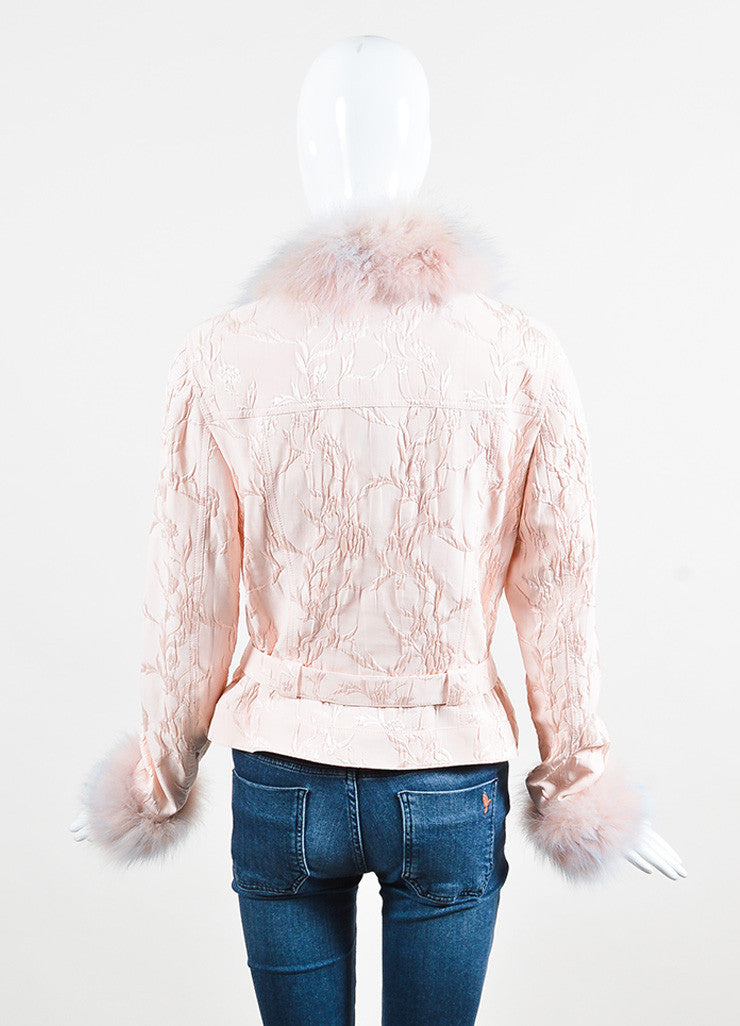 Escada Pink Silk Blend Fox Fur Trimmed Floral Jacquard Belted Jacket Backview