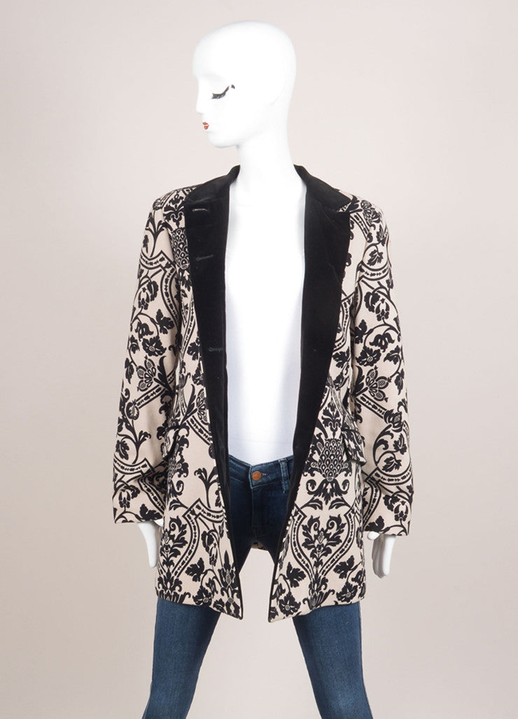 Etro Beige and Black Wool Blend Velvet Trim Floral Print Long Sleeve Coat Frontview