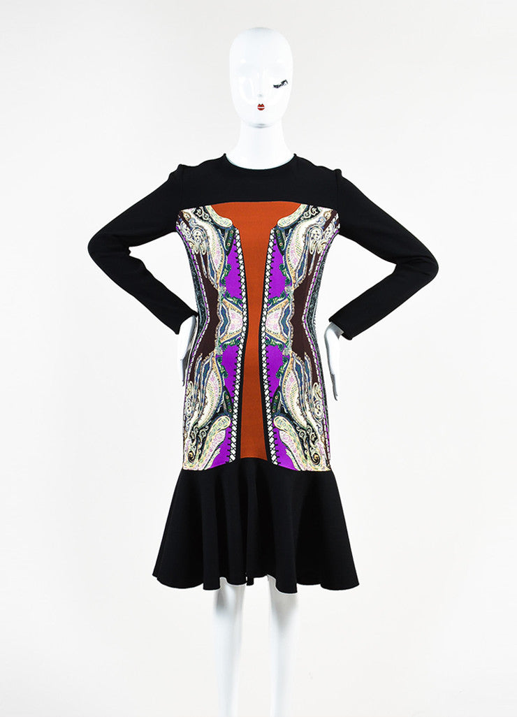 Etro Black, Brown, and Cream Wool Blend Multi Print Trumpet Hem Dress Frontview