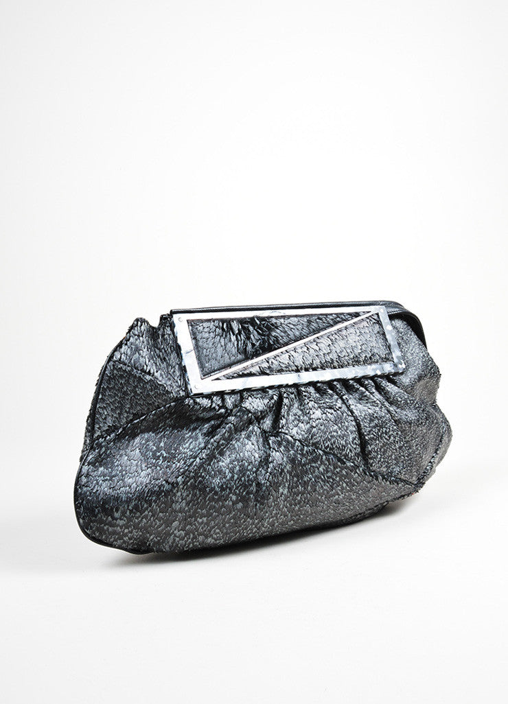 "Black and Grey Fendi Coated Pony Hair Lucite ""To You"" Convertible Bag Sideview"