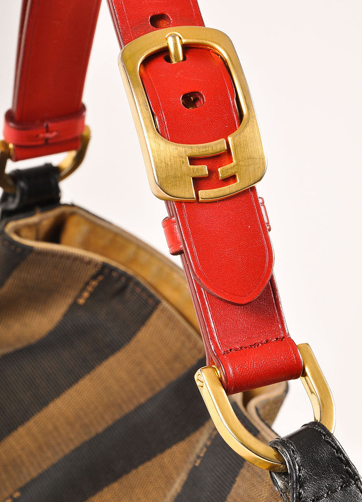 "Fendi Brown, Black, and Red Canvas Leather Trim Stripe ""Pequin"" Hobo Bag Detail 2"