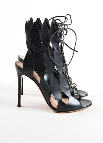 Gianvito Rossi Black Cut Out Lace Up Sandals Sideview