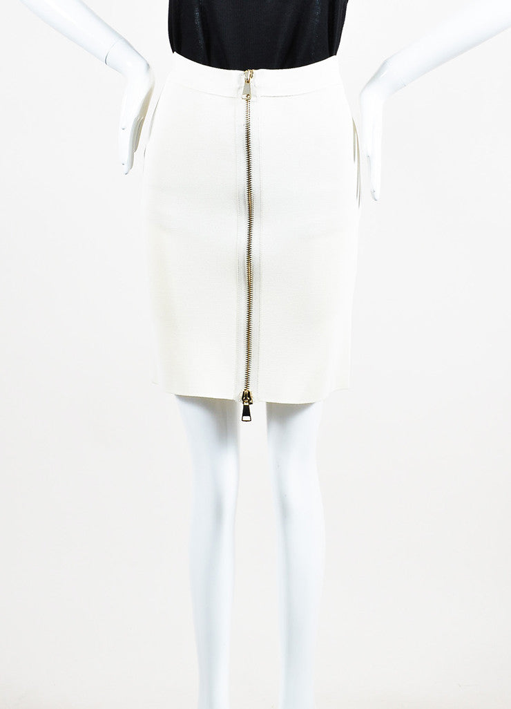 Givenchy Cream and Gold Toned Two Way Exposed Zipper Bodycon Skirt Frontview