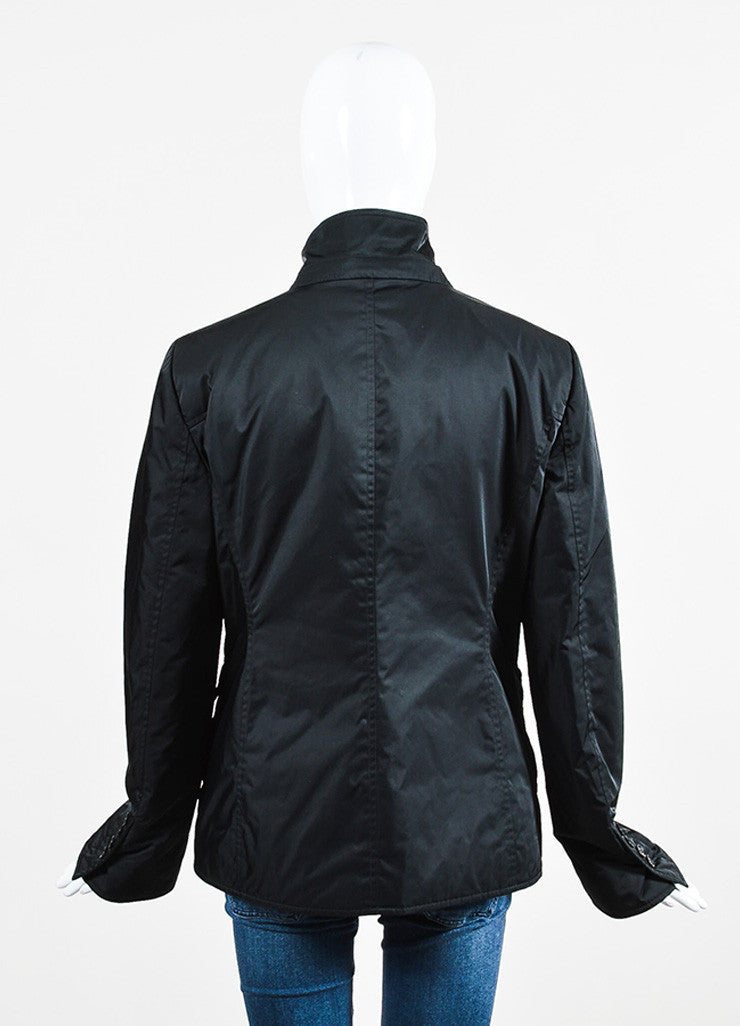 Gucci Black Nylon and Wool Ribbed Trim Double Zip Placket Jacket Backview