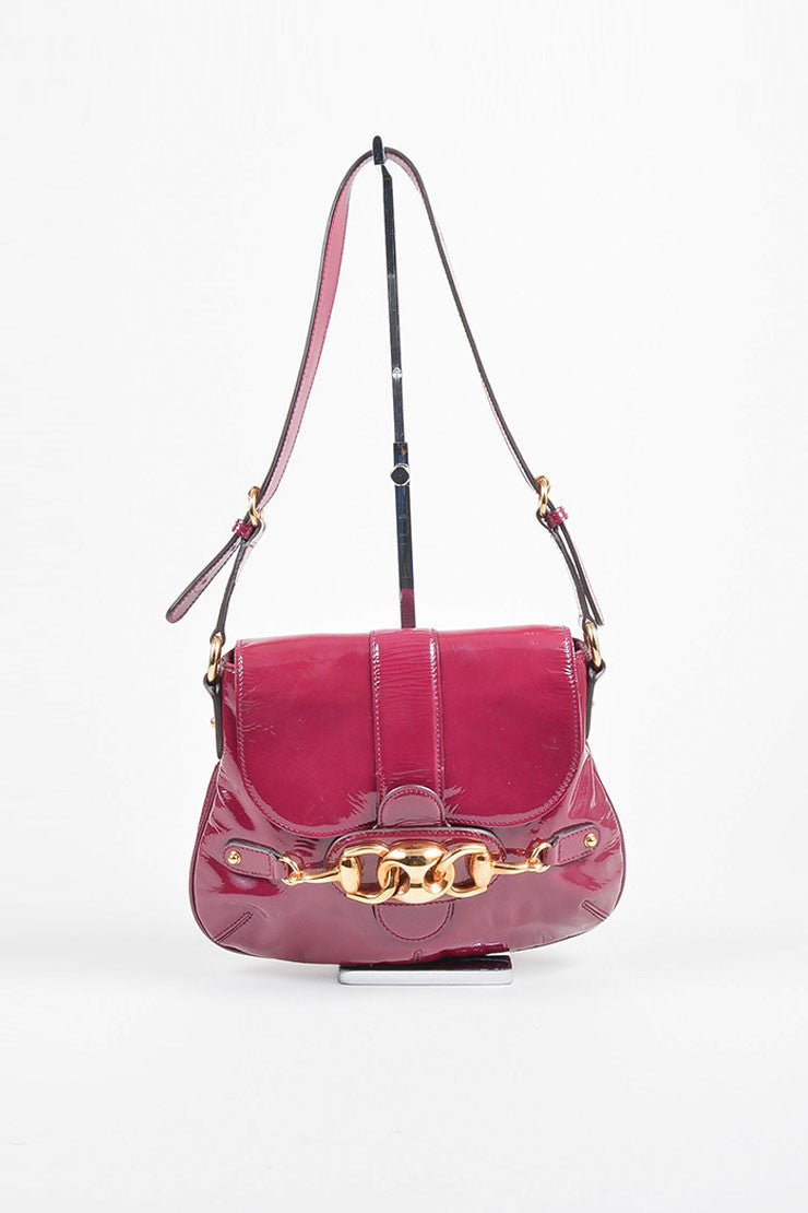 Gucci Magenta Patent Leather Gold Tone Horsebit Flap Shoulder Bag Frontview