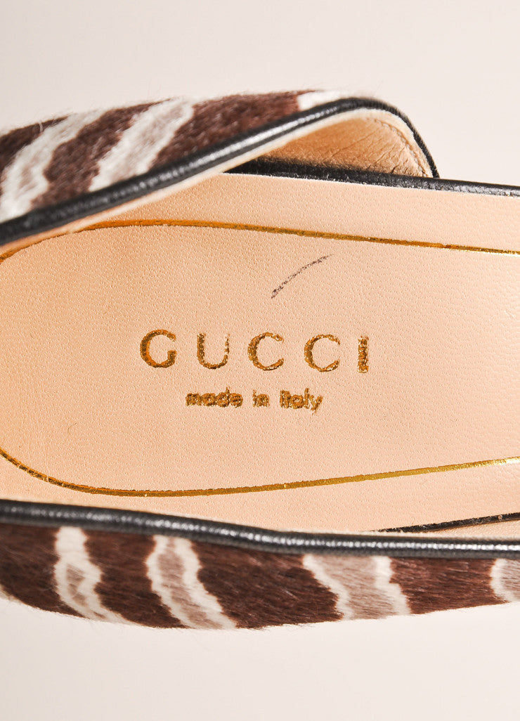 Gucci New In Box Brown and Grey Striped Pony Hair D'Orsay Pumps Brand