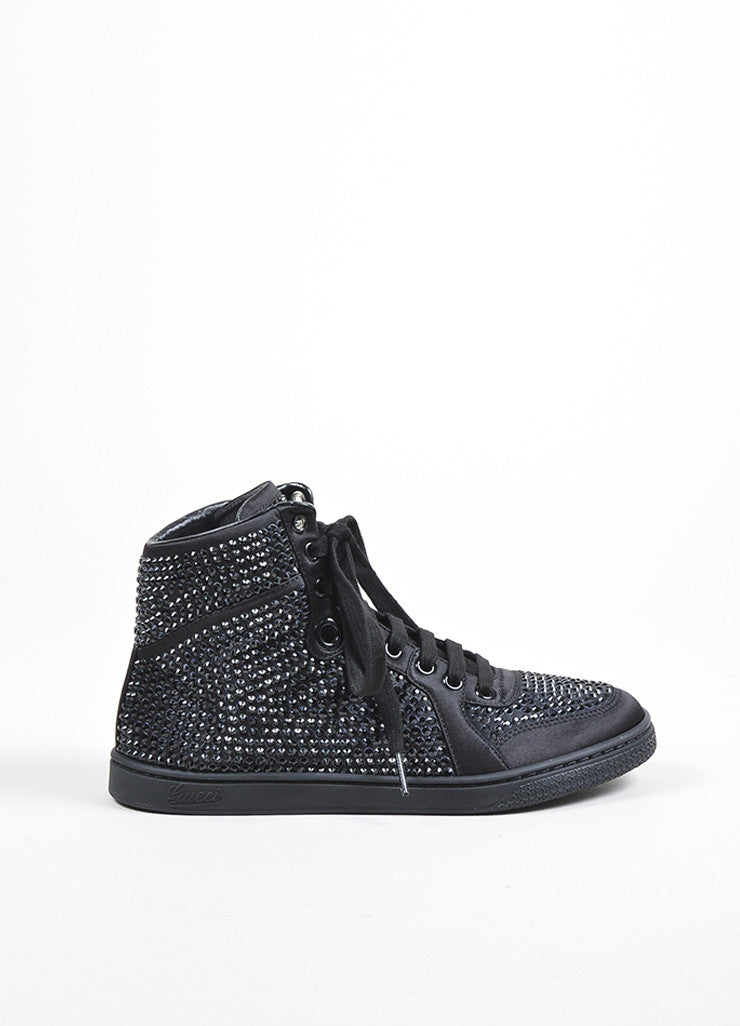 Black Gucci Poli Satin Crystal Embellished Lace Up High Top Sneakers Sideview