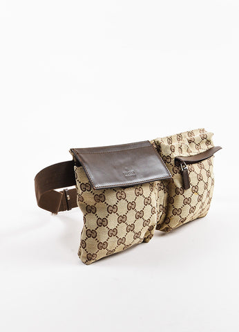"Gucci Tan and Brown Canvas Leather Trim Monogram Print ""Original GG"" Belt Bag Sideview"