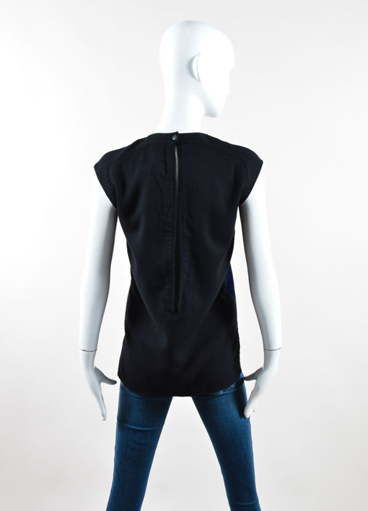 Helmut Lang Black and Navy Pony Hair Panel Sleeveless Top Backview